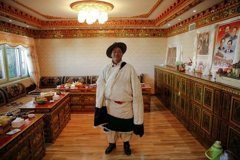 Chinese subsidies covered a third of the cost of building Lobsang's house.