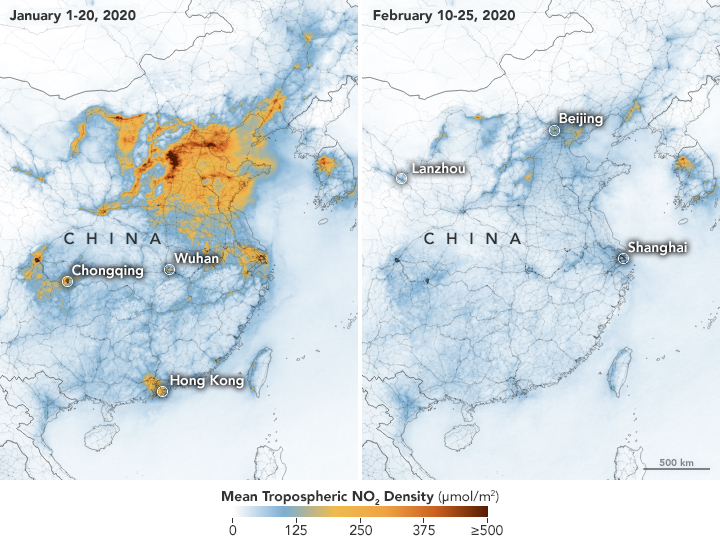 Nitrogen dioxide levels above China during Jan. and Feb., 2020.