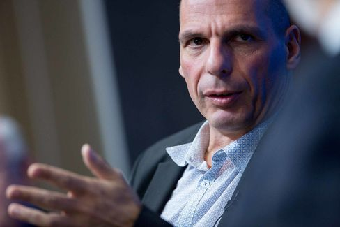 Yanis Varoufakis, Greece's finance minister, speaks during a panel discussion at the Brookings Institution on the sidelines of the International Monetary Fund (IMF) and World Bank Group Spring Meetings in Washington, D.C., on April16.