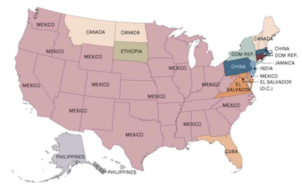 Map Of Us Immigration A State by State Map of U.S. Immigrant Countries of Origin From