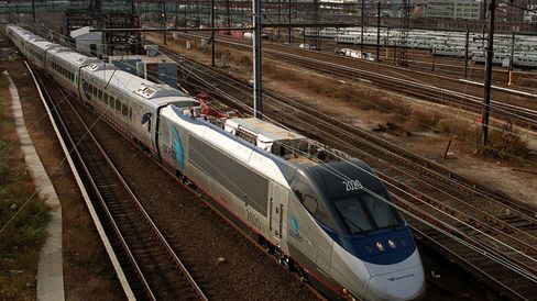 Amtrak's new Acela Express train is seen against t