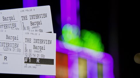 In this photo illustration two tickets for the movie 'The Interview' are seen in front of the Los Feliz 3 Cinema in Los Angeles, California on December 23, 2014, where 'The Interview' is scheduled to be shown December 25, 2014.