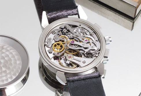 The Venus caliber 185 split-second chronograph movement is where this watch started.
