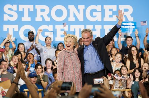 Hillary Clinton with Tim Kaine on July 14.