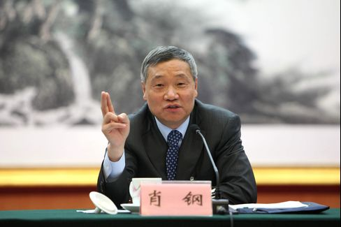 Xiao Gang, Chairman of the China Securities Regulatory Commission, in Beijing, on 7 March 2015.