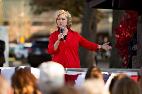 Hillary Clinton speaks during a town hall event at S.T. Morrison Park in Coralville, Iowa, on Nov. 3.