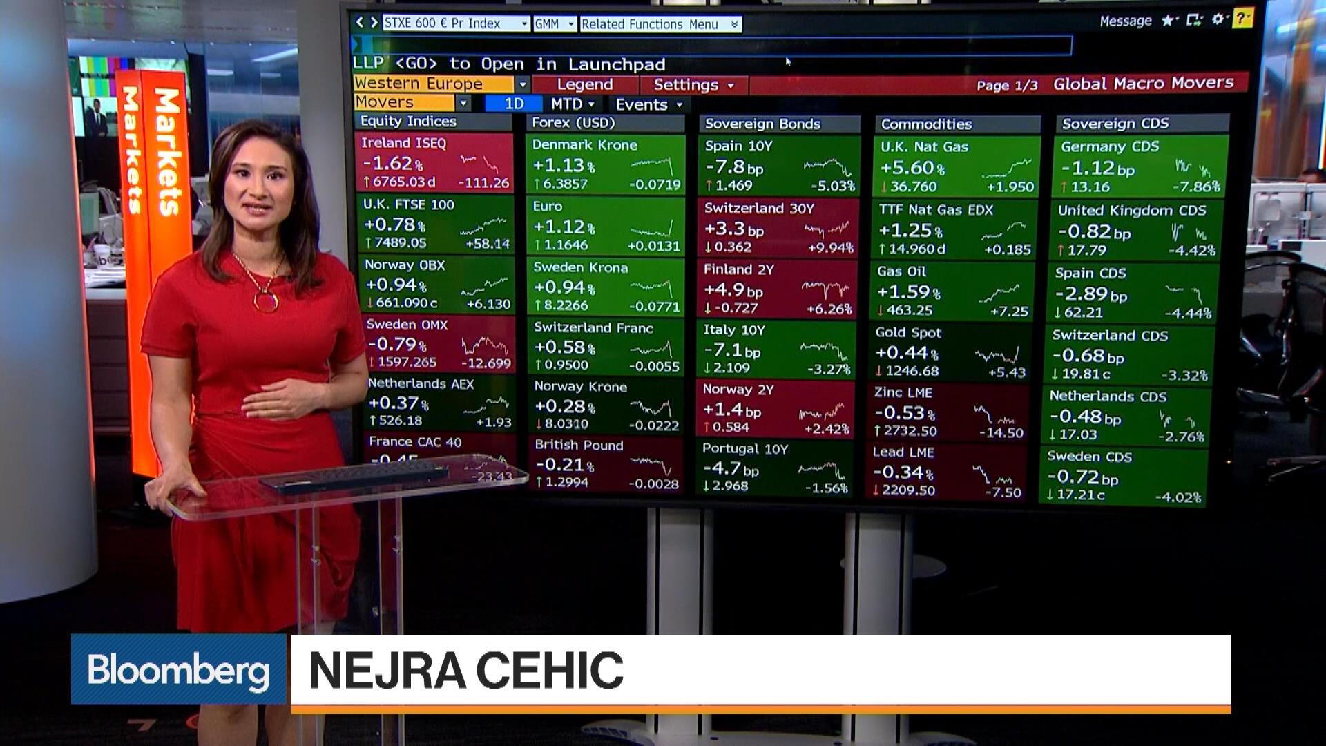 European Stocks Fall as Draghi Talks Timing - Bloomberg