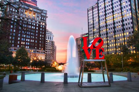 John F. Kennedy Plaza and Love sculpture by Robert Indiana in Philadelphia.