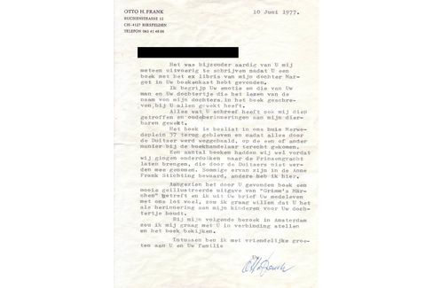 The letter from Frank's father, which is included in the sale.