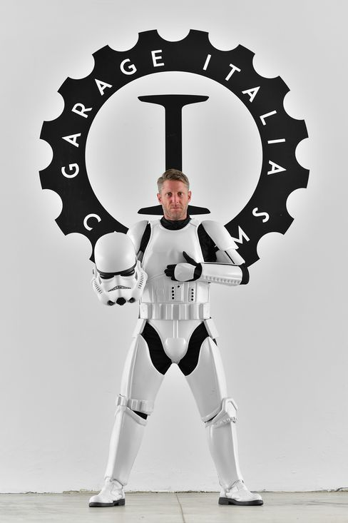 Lapo Elkann in full Star Wars Stormtrooper garb.