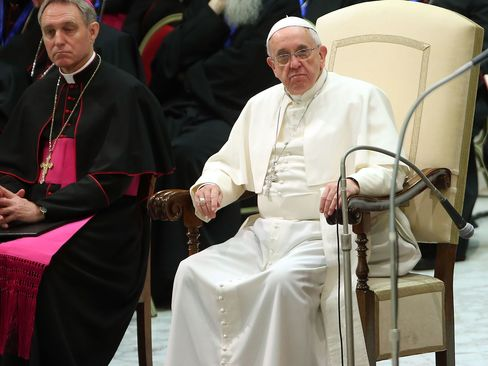Pope Francis attends his weekly public audience at the Paul VI Hall on February 4, 2015 in Vatican City. In 2013, Putin kept Pope Francis waiting for 50 minutes. That was about how long their second encounter lasted.