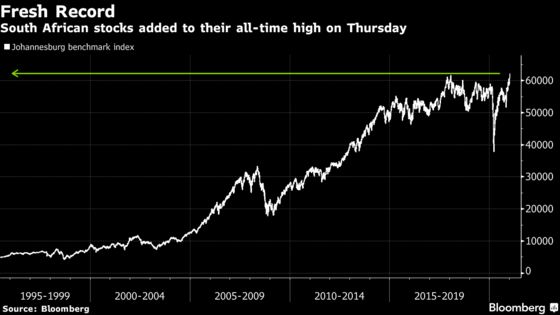 South Africa Stocks Extend Record as Stimulus Hopes Boost Miners