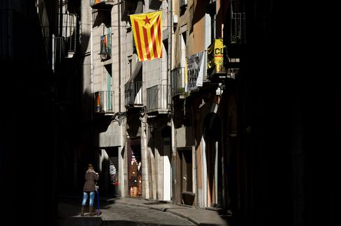 Pro-Independence Catalan Flag hangs in Girona