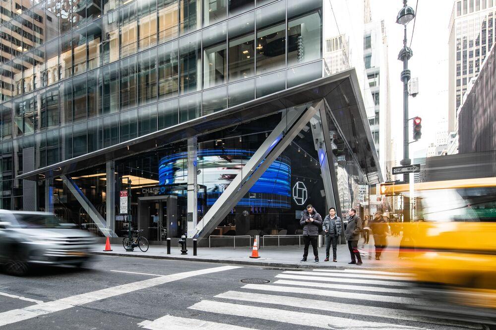 JP Morgan Chase & Co. succursale bancaria in Madison Avenue a New York.
