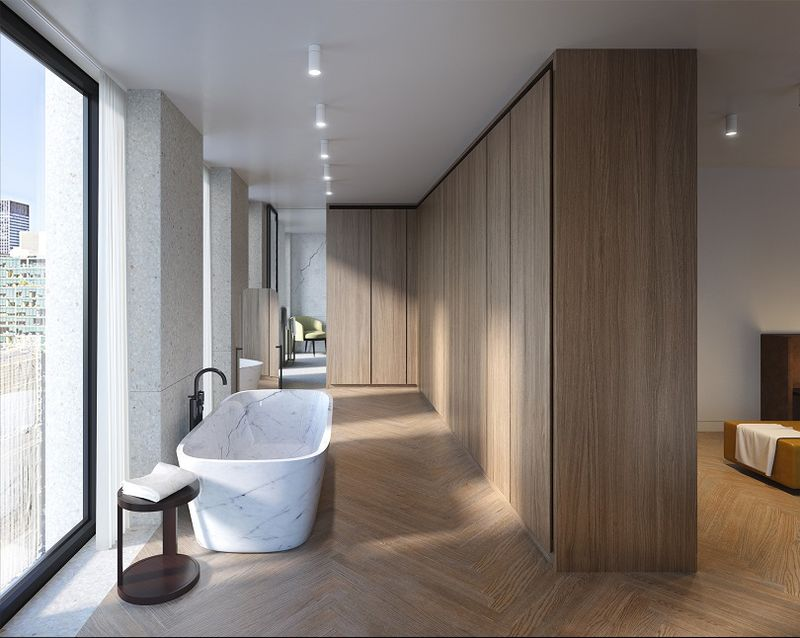 A bathroom in the Bryant  in Manhattan s Midtown Bathrooms With a View  The Latest Luxury Real Estate Must Have  . In The Bathroom. Home Design Ideas