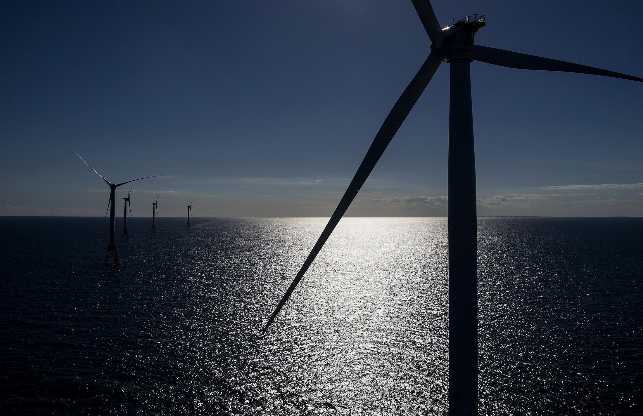 An offshore wind farm near Block Island, Rhode Island.