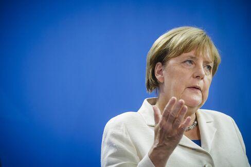 German Chancellor Angela Merkel speaks to the media on August 29.