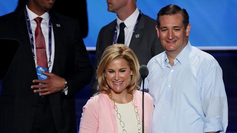 Senator Ted Cruz and his wife, Heidi, stand on stage prior to the start on the third day of the Republican National Convention on July 20, 2016, in Cleveland.