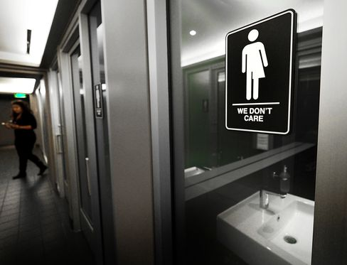Gender neutral restroom in Durham, North Carolina, on May 10.