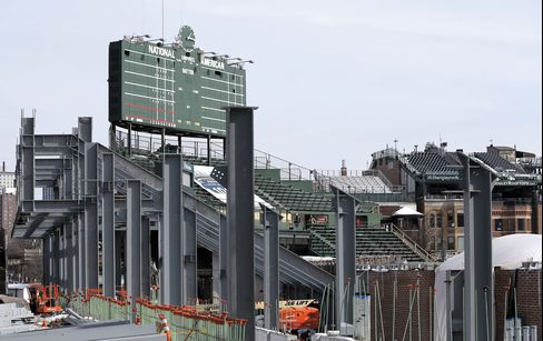 Wrigley Field under construction, March 2015.