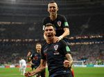 Mario Mandzukic of Croatia celebrates after scoring his team's second goal during the FIFA World Cup Russia Semi Final match between England and Croatia in Moscow on July 11, 2018.