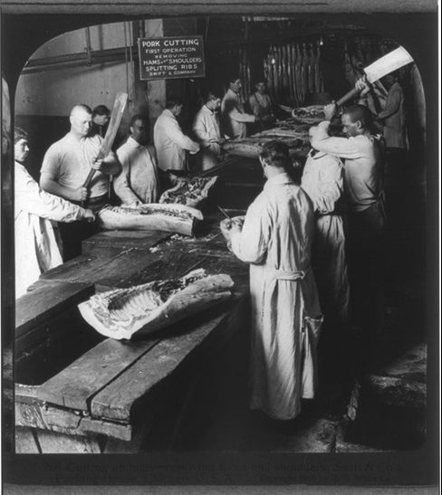 Swift & Co.'s Packing House: cutting up hogs, removing hams and shoulders, circa 1905, Chicago