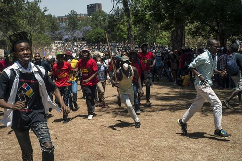 Student demonstration in front of the Union Buildings