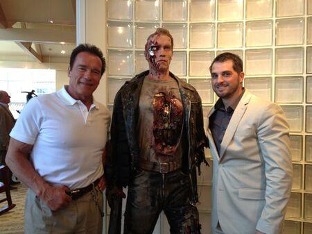 Brad Pyatt (right) with Arnold Schwarzenegger.