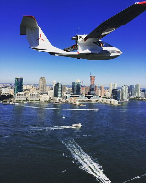 A view of the Jersey City skyline and the busy Hudson River during our NYC test flight.