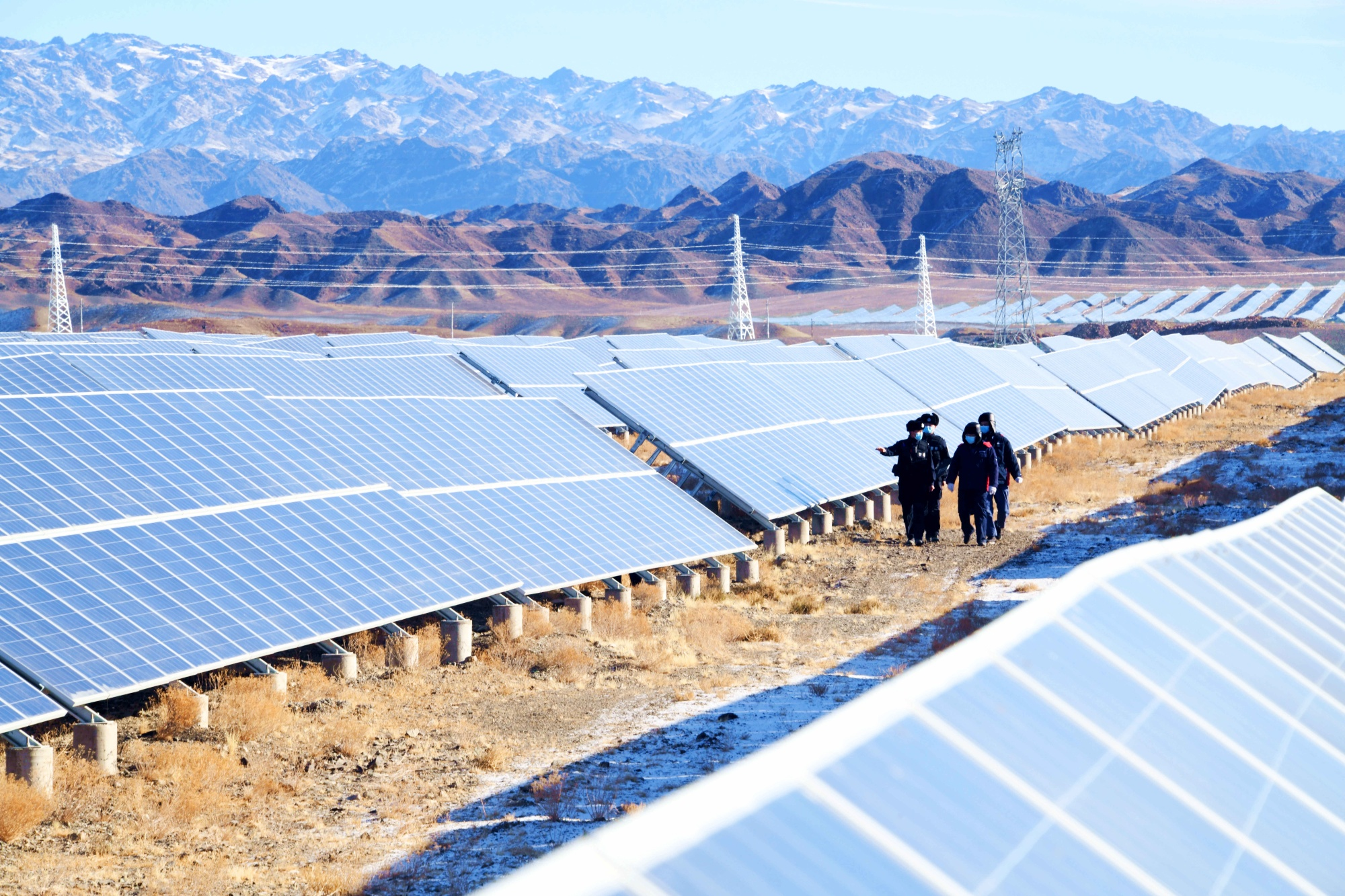Photovoltaic power plant in Changji, Xinjiang, in Jan. 2021.