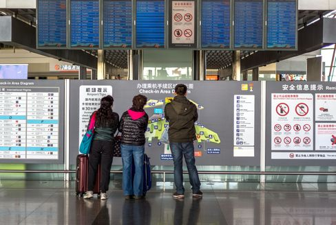Passengers at Beijing International Airport