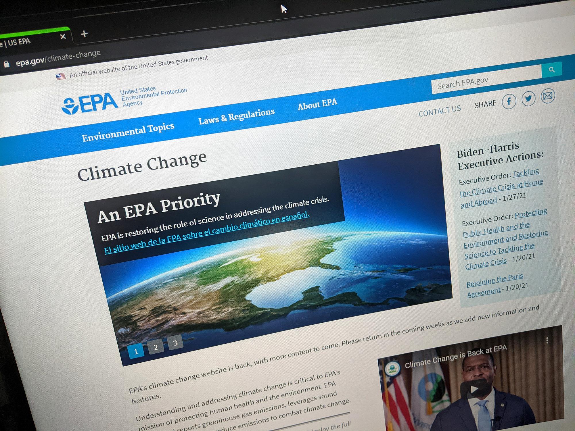 EPA.gov/climate-change website