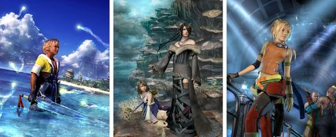 Characters from Final Fantasy X (from left): Tidus, Yuna, Lulu, Rikku.