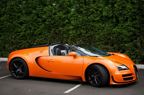 The Bugatti Veyron Grand Sport Vitesse is a version of the Bugatti Grand Sport that comes with a Super Sport (1,200-horsepower, W16-cylinder) engine. It goes 0 to60 mph in 2.6 seconds, with a top speed of 233 mph. Price: $1.8 million (base).