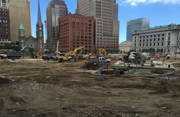 Cleveland's Public Square undergoes renovations that are expected to be completed before the Republican National Convention next year.