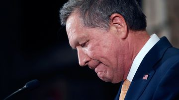 Republican presidential candidate John Kasich announces the suspension of his campaign on May 4, 2016, in Columbus, Ohio.