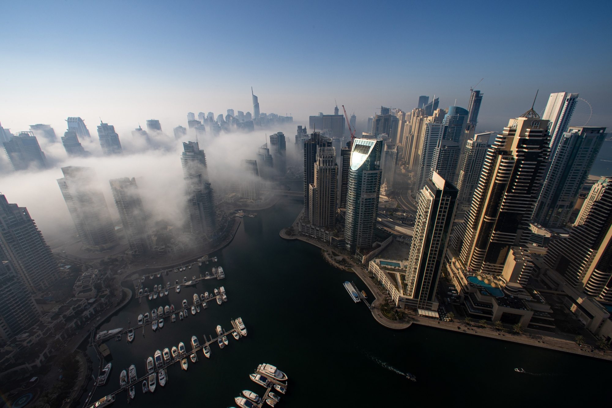 Dubai City Skyline in Dense Fog