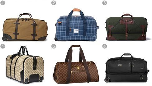 (1) Rolling duffel, Filson $565, filson.com; (2) Outfitter luggage wheelie, Herschel Supply $184.99, herschelsupply.com; (3) Rolling duffel bag, J.W. Hulme $995, jwhulmeco.com; (4) GG Supreme duffel, Gucci $2,480, gucci.com; (5) Neo Eole 55, Louis Vuitton $2,580, louisvuitton.com; (6) Alpha 2 large wheeled split duffel, Tumi $830, tumi.com