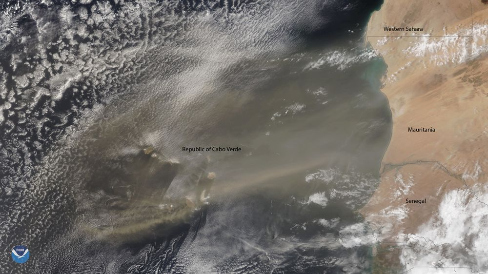 A plume of Saharan dust reaches across the tropical North Atlantic Ocean in this NOAA-20 image from June 10.