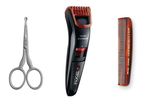 From left: Tweezerman GEAR stainless steel facial hair scissors; Philips Norelco Axe Beard and Stubble Trimmer; Baxter of California beard comb