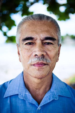 Kiribati's president, Anote Tong, outside his oceanfront office
