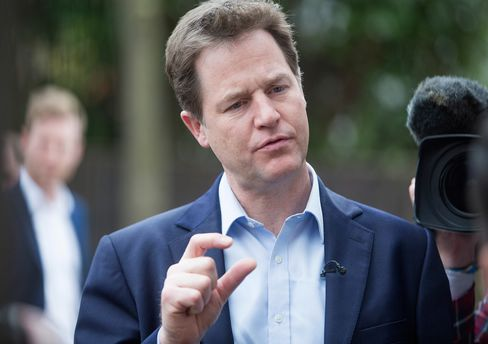 Nick Clegg, U.K. deputy prime minister and leader of the Liberal Democrats, speaks to media in the Carshalton district of London, on April 13.