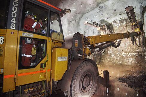 Development drilling at Olympic Dam underground mine.
