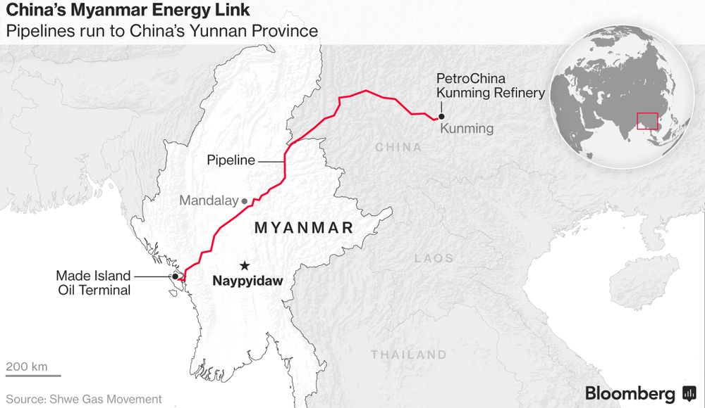 China Opens Delayed Myanmar Oil Pipeline to Get Mideast Crude Faster