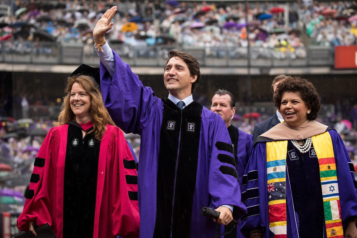 Trudeau Pitches Diversity to NYU Graduates at Yankee Stadium