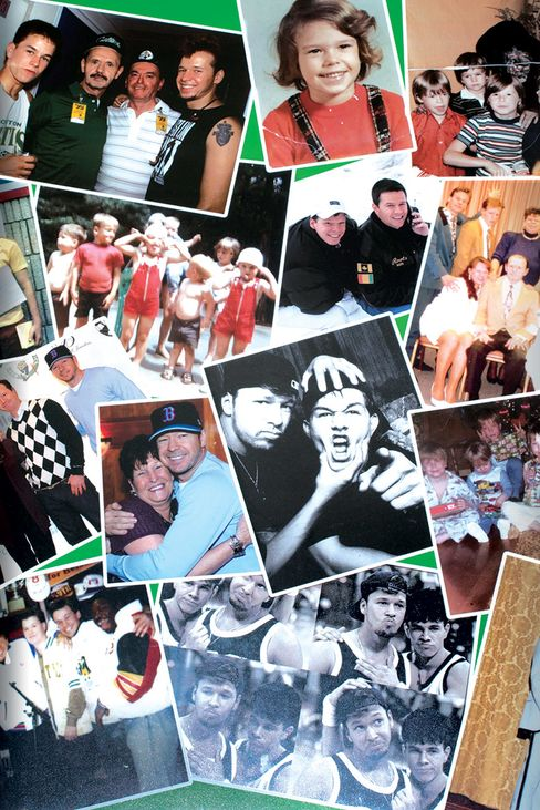 Mark, Donnie, and family on the restaurant's wall.