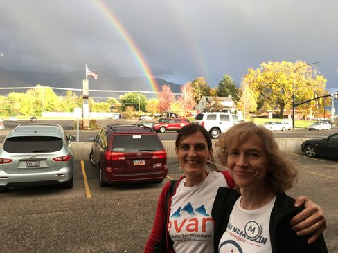 Calene Van Noy, left, and Laura Miller canvass for Evan McMullin on Oct. 18, 2016, in Kaysville, Utah.