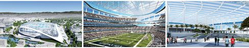 Artists' renderings of the 80,000-seat football stadium Kroenke plans to build in Inglewood.