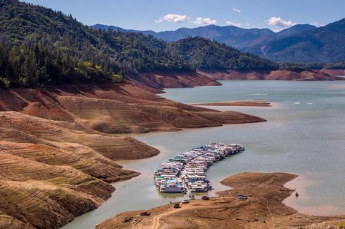 With Lake Shasta at 26% capacity, California's largest water reservoir, feeding the Sacramento River, is at historically low levels on Sept. 27, 2014, in Redding, Calif. With 2013 the driest year in recorded history, and reservoir levels continuing to drop, Governor Jerry Brown has declared a water