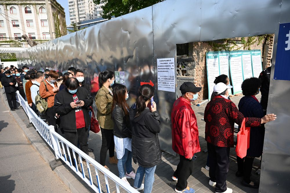People line up for Covid-19 vaccines in Beijing on April 8.